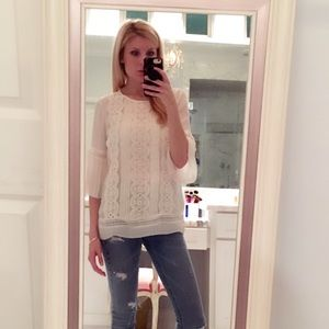 LOFT ivory blouse with crochet details so XS